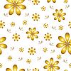Vektor Cliparts: florale Tapete mit Satz von verschiedenen Blumen.