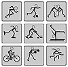 Vector clipart: Set of black with shade sport icons