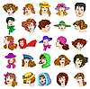 Vector clipart: Set of faces