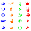 Set of color abstract symbols for design