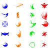 Set von farbigen abstrakten Symbolen für Design