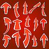Vektor Cliparts: Arrows Aufkleber verschiedenen Farben und Formen