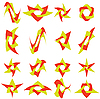 Набор цветных абстрактных символов для дизайна