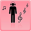 Vector clipart: Icon of the person in ear-phones listening to music