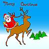 santa claus rides on deer