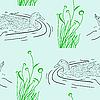 Vector clipart: seamless background, Wild duck.