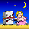 Vector clipart: Refrigerator with chain and lock - diet symbol