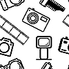 Vector clipart: seamless background, of digital cameras