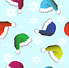 Vector clipart: Seamless background of Christmas hats and snowflakes