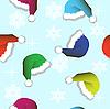 Векторный клипарт: Бесшовный фон из новогодних шапок и снежинок