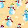 Vector clipart: Seamless background of snowmen and snowflakes