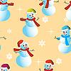 Векторный клипарт: Бесшовный фон из снеговиков и снежинок