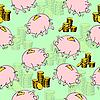 Vektor Cliparts: Pig Sparschwein, Goldmünzen.