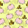 Vector clipart: Pig piggy bank, gold coins.