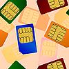 Vector clipart: Sim card. Seamless pattern.