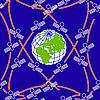 在偏心轨道围绕地球的人造卫星。 | 向量插图