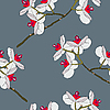 Vector clipart: Orchid flowers. Seamless pattern.