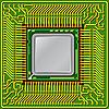 Vector clipart: computer processor on circuit board