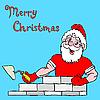 Векторный клипарт: Дед Мороз строит кирпичный дом
