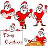 Векторный клипарт: Набор Дедов Морозов