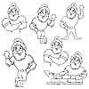 Vector clipart: set of Santa Clauses