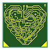 Векторный клипарт: Печатная плата узор в форме сердца.. V