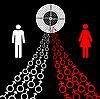 Векторный клипарт: мужского и женского секс-символы имеют тенденцию к цели