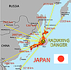Vector clipart: Japan map with danger on an atomic power station