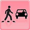 Vector clipart: icon the person crosses road and the car drops it