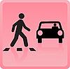 Das Symbol der Person kreuzt Straße und das Auto fällt es