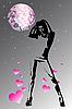 Vektor Cliparts: Schwarz-Weiß-Porträt der weiblichen