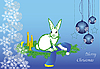 рождественская открытка с белым зайцем