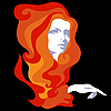 Vector clipart: Girl with long hair