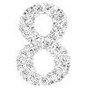 Векторный клипарт: Цветочный алфавит из красных роз, символ 8