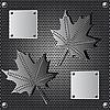 Векторный клипарт: металлический экран кленовый лист фон с заклепками