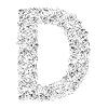Vector clipart: Flower alphabet of red roses, letter D