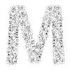 Vector clipart: Flower alphabet of red roses, letter M