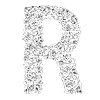 Vector clipart: Flower alphabet of red roses, letter R