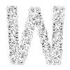 Vector clipart: Flower alphabet of red roses, letter W