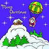 Vector clipart: Santa Claus on parachute