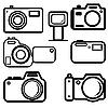 Векторный клипарт: Набор цифровых камер