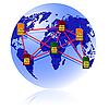 Globe Sim-Karte verbindet Kontinente.