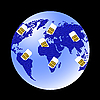 Vector clipart: Globe Sim card connecting continents.