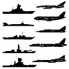 Vector clipart: set of military aircraft, ships and submarines.