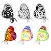 Векторный клипарт: набор красивых бабочек.