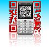 Векторный клипарт: Смартфон с QR-код.