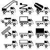 Векторный клипарт: Набор иконок - транспортировка символов. Черный. Калифорния