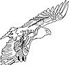 Векторный клипарт: Черный силуэт парящей татуировки Эгле