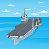 Vector clipart: Planes taking off the deck of aircraft carrier