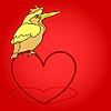 Векторный клипарт: Открытка из птицы сидят на сердце.